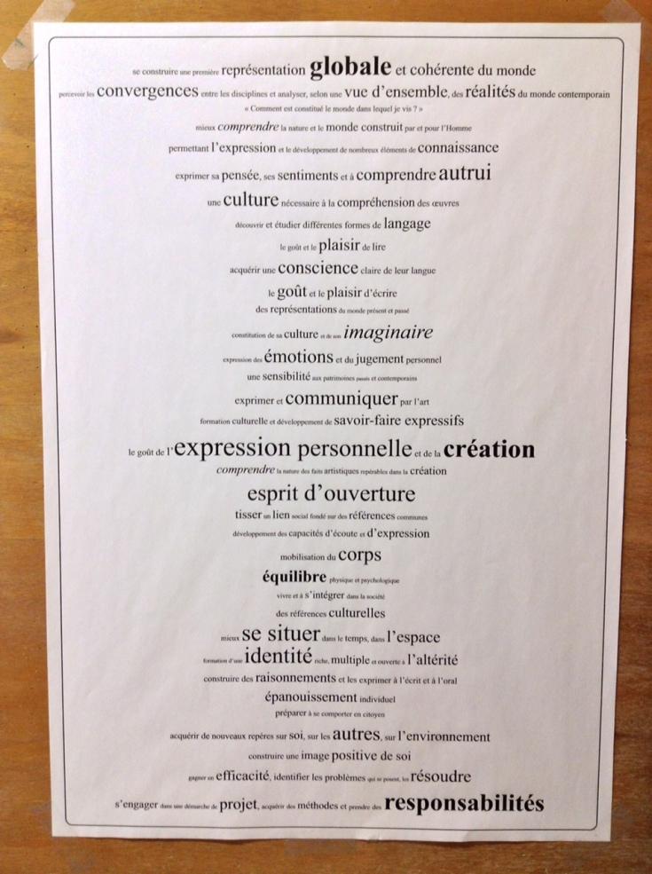 les objectifs disciplinaires