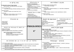 Programme Quatrième