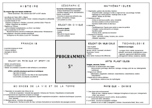 Programme Cinquième